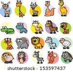 set of cute cartoon animals  | Shutterstock .eps vector #153597437
