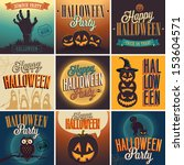 halloween posters set. vector... | Shutterstock .eps vector #153604571