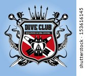 premium vector label for scuba diving club and underwater swimming with elements logo