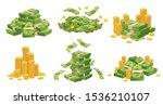 Cartoon Money And Coins. Green...