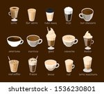 coffee cup set vector isolated. ... | Shutterstock .eps vector #1536230801