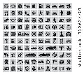 vector black auto icons set on... | Shutterstock .eps vector #153627701