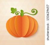 orange paper pumpkin with vine... | Shutterstock .eps vector #153629657