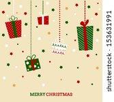 retro doodled christmas card... | Shutterstock .eps vector #153631991
