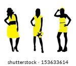 pretty girls in yellow dresses | Shutterstock .eps vector #153633614