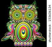 owl psychedelic pop art design | Shutterstock .eps vector #153636134