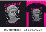 Graphic t-shirt design, typography slogan with classic statue,vector illustration for t-shirt.