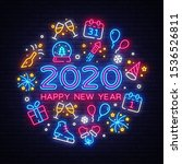happy new year 2020 neon icons... | Shutterstock .eps vector #1536526811