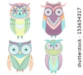 Stock vector set of cute colorful owls owl 153654317