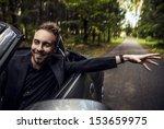 elegant young happy man in... | Shutterstock . vector #153659975