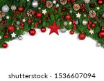 Christmas Border Frame Of Tree...