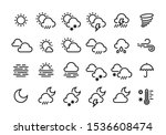 weather line icons. sun clouds... | Shutterstock .eps vector #1536608474
