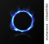 realistic blue fire circle.... | Shutterstock .eps vector #1536609284