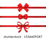 red realistic bow. horizontal... | Shutterstock .eps vector #1536609287