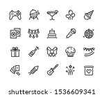 party line icons. birthday... | Shutterstock .eps vector #1536609341