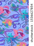 pattern of fantastic fishes... | Shutterstock .eps vector #1536627854