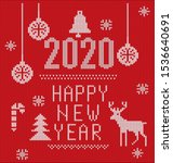 2020 knitted font  elements and ... | Shutterstock .eps vector #1536640691