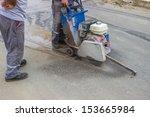 road workers cutting asphalt... | Shutterstock . vector #153665984