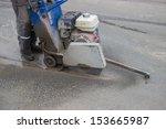 road workers cutting asphalt... | Shutterstock . vector #153665987