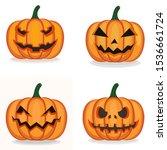 set of scary pumpkin halloween... | Shutterstock .eps vector #1536661724