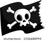 pirate flag. skull and bones on ... | Shutterstock .eps vector #1536688994