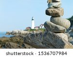 Stack Of Rocks In Front Of The...