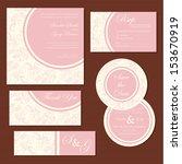 Set of vintage floral wedding invitation cards. Vector illustration - stock vector