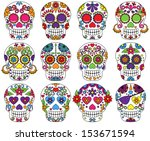vector set of day of the dead... | Shutterstock .eps vector #153671594