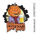 pumpkin holding a beer mug.... | Shutterstock .eps vector #1536739211