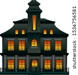 creepy house with symmetric... | Shutterstock .eps vector #1536756581