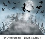 halloween background with witch ... | Shutterstock .eps vector #1536782834