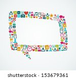 isolated colorful social media... | Shutterstock .eps vector #153679361