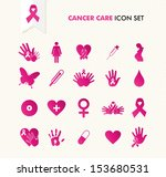 Breast cancer awareness ribbon symbol and health care elements icons set. EPS10 vector file organized in layers for easy editing.