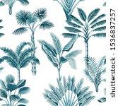 tropical vintage blue palm... | Shutterstock .eps vector #1536837257