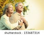 happy senior couple relaxing in ... | Shutterstock . vector #153687314