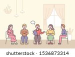 group psychotherapy meeting.... | Shutterstock .eps vector #1536873314