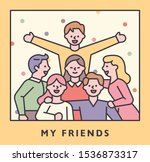 happy friends are smiling... | Shutterstock .eps vector #1536873317