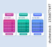 colorful pricing table list for ...