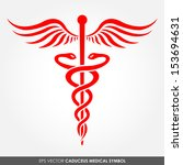 orange caduceus sign on white... | Shutterstock .eps vector #153694631