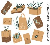 set of eco packages with green... | Shutterstock .eps vector #1536989834