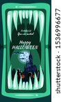 creepy halloween party banner...   Shutterstock .eps vector #1536996677