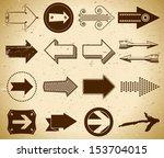 set of trendy vintage arrows on ... | Shutterstock . vector #153704015