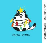 fat cat acts to be christmas... | Shutterstock .eps vector #1537048724