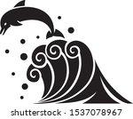 dolphin on waves vector... | Shutterstock .eps vector #1537078967