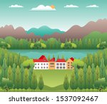 hills and mountains landscape ... | Shutterstock .eps vector #1537092467