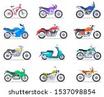 Motorbike Set. Motorcycle And...