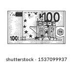 one hundred euro cash sketch... | Shutterstock .eps vector #1537099937