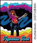 psychedelic rock guitar player... | Shutterstock .eps vector #1537138304