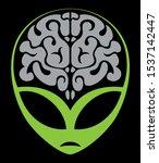 Green Alien Face Fith The Brai...