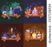 magic potion bottles with... | Shutterstock .eps vector #1537158554